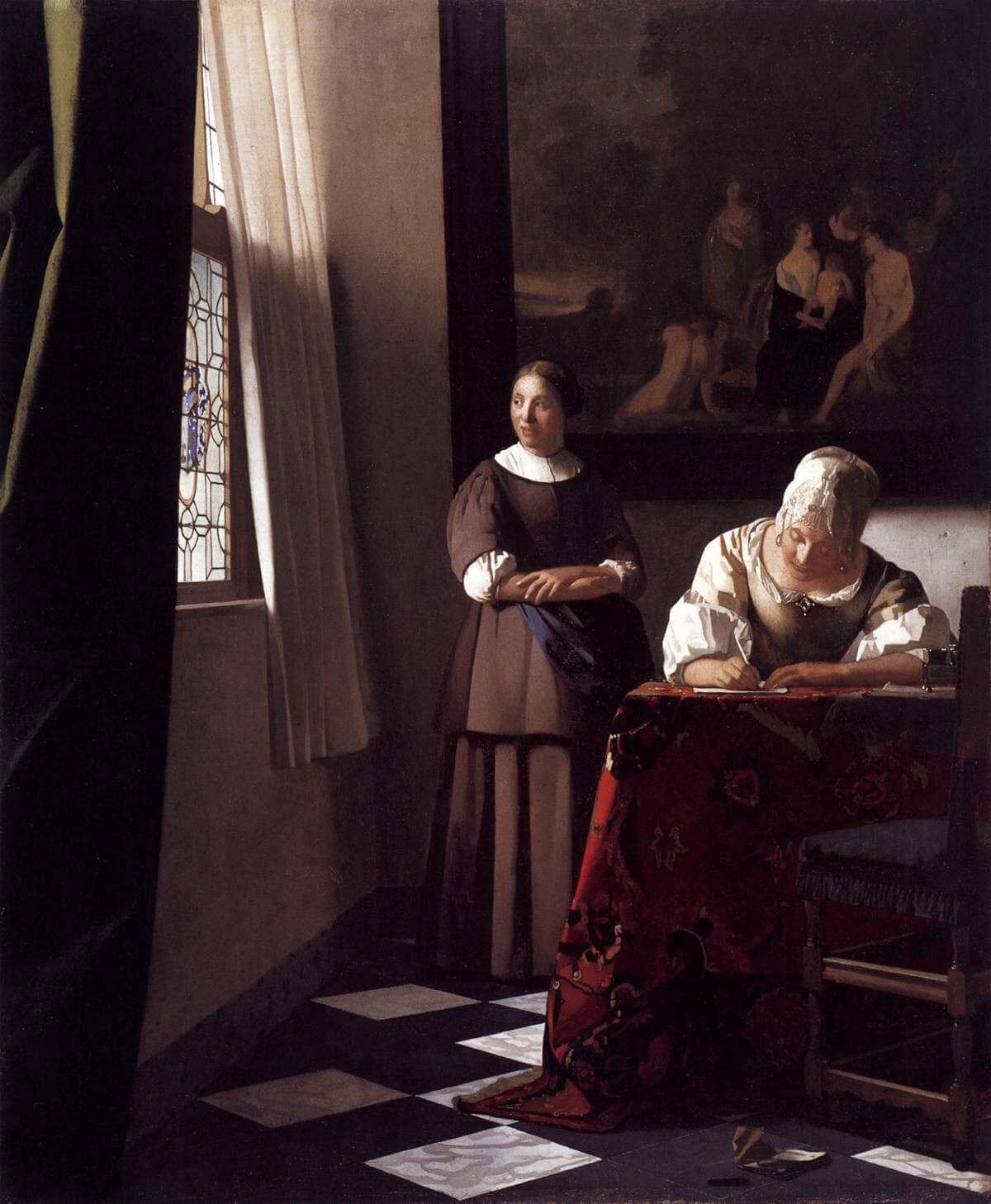 Lady Writing a Letter with Her Maid, 1670 by Johannes Vermeer