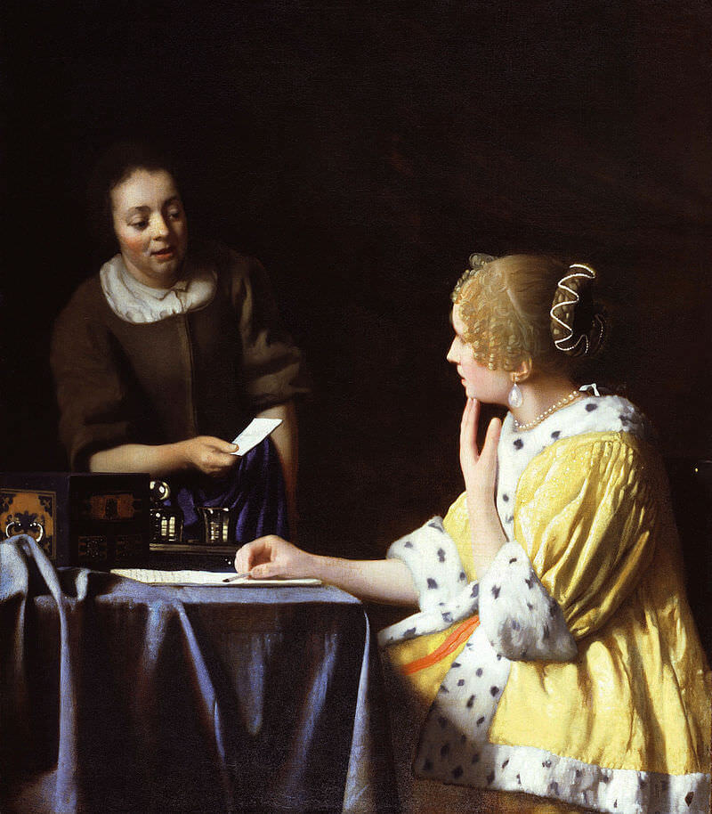 Mistress and Maid, 1667 - by Johannes Vermeer