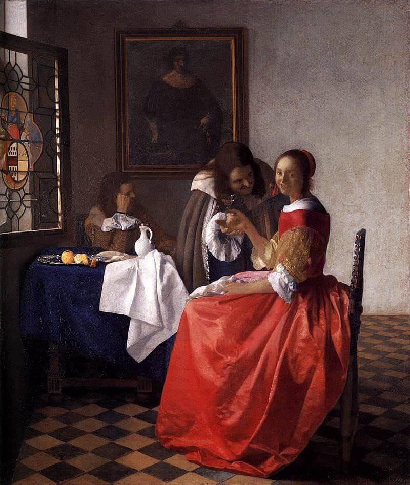 the girl with the wine glass - by Johannes Vermeer