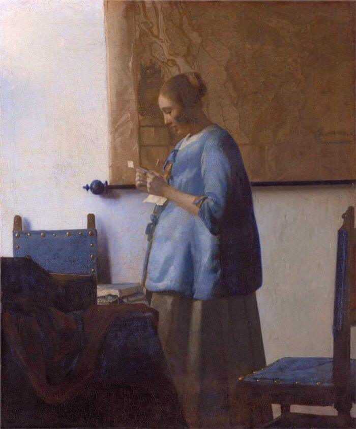 Woman in Blue Reading a Letter, 1663 by Johannes Vermeer